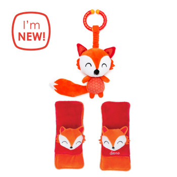 Diono Fox Character Car Seat Straps & Linkee Toy, Shoulder Pads for Baby, Infant, Toddler, 2 Pack Reversible Soft Seat Belt Cushion and Stroller Harness Covers Helps Prevent Strap irritation, Orange [Fox]
