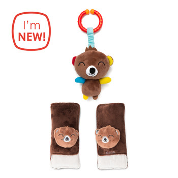 Diono Bear Character Car Seat Straps & Linkee Toy, Shoulder Pads for Baby, Infant, Toddler, 2 Pack Reversible Soft Seat Belt Cushion and Stroller Harness Covers Helps Prevent Strap irritation, Brown [Bear]