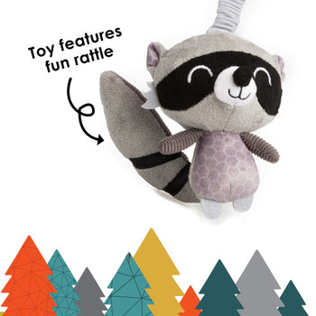 Diono Racoon Character Car Seat Straps & Linkee Toy, Shoulder Pads for Baby, Infant, Toddler, 2 Pack Reversible Soft Seat Belt Cushion and Stroller Harness Covers Helps Prevent Strap irritation, Gray [Raccoon]