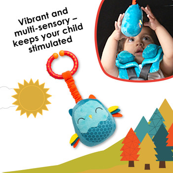 Diono Owl Character Car Seat Straps & Linkee Toy, Shoulder Pads for Baby, Infant, Toddler, 2 Pack Reversible Soft Seat Belt Cushion and Stroller Harness Covers Helps Prevent Strap irritation, Teal [Owl]