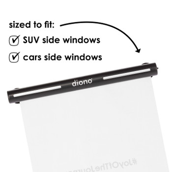 Diono Heatblock™ Car Roller Sunshade for Baby, Kids, Pets, Retractable Car Window Sun Shade for Blocking Sun Glare, UV Rays, Keeps Car Cool [Black]