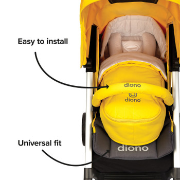 Newborn Pod Stroller Footmuff For Baby, Head Body Support With Temperature Control Inside, Weatherproof, Water Resistant Lining, Universal Fit [Yellow Sulphur]