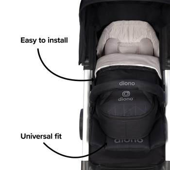 Newborn Pod Stroller Footmuff For Baby, Head Body Support With Temperature Control Inside, Weatherproof, Water Resistant Lining, Universal Fit [Black Midnight]