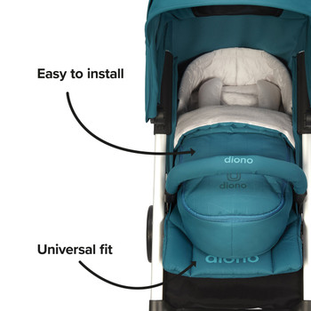 Newborn Pod Stroller Footmuff For Baby, Head Body Support With Temperature Control Inside, Weatherproof, Water Resistant Lining, Universal Fit [Blue Turquoise]