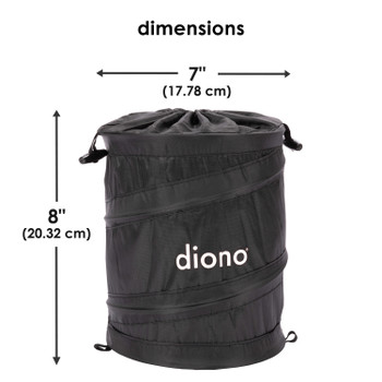 Diono Pop-up Trash Bin, Collapsible Car Trash Can Portable, Small, Leak Proof, Perfect For Keeping Car Clean [Black]