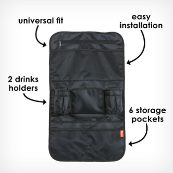 Stow 'n Go back seat organizer with 6 pockets 2 drinks holders