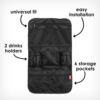 Stow 'n Go back seat organizer with 6 storage pockets [Black Platinum]