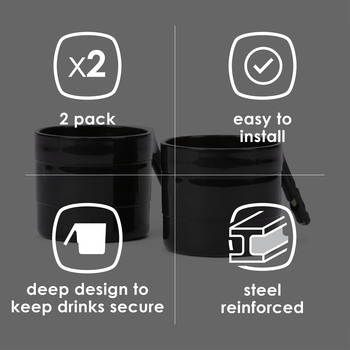 Diono Car Seat Cup Holders for Radian, Everett and Rainier Car Seats, Pack of 2 Cup Holders [Black]