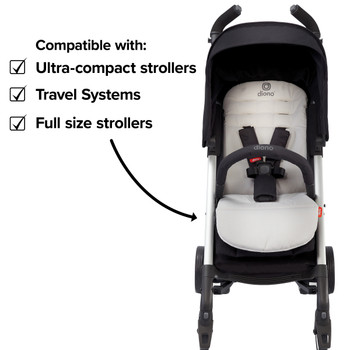 Diono Baby Seat Liner For Stroller, Cool Reversible Stroller Seat Liner With Plush Cushioned Padding, 100% Water Resistant Liner [Gray Light]