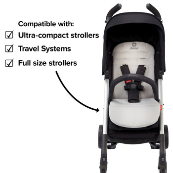 Diono Baby Seat Liner For Stroller, Cool Reversible Stroller Seat Liner With Plush Cushioned Padding, 100% Water Resistant Liner  [Gray Dark]