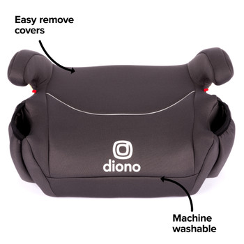 Solana Backless Booster Car Seat Black Belt Easy remove machine washable covers [Charcoal]