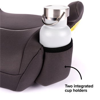 Solana Backless Booster Car Seat Two Cup Holders [Charcoal]