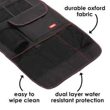 Diono Stow 'n Go® Car Back Seat Organizer for Kids, Kick Mat Back Seat Protector, With 7 Storage Pockets, 2 Drinks Holders, Water Resistant, Durable Material [Black]