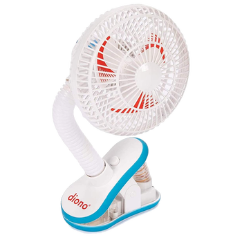 Diono Stroller Fan, Clip On Baby Safe Stroller Fan With Flexible Neck For Perfect Angle, Unviersal Fit With Most Strollers [White]