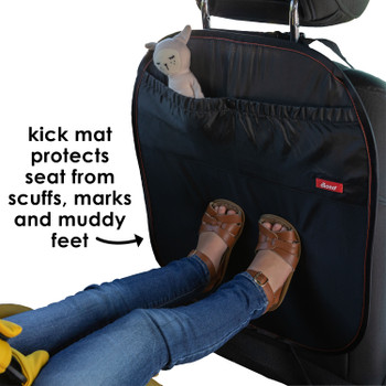 Diono Stuff 'n Scuff Kick Mat Back Seat Protector for Kids Feet With Storage Pocket, 100% Water Resistant for Protection of Your Upholstery from Dirt, Mud, Scratches [Black]
