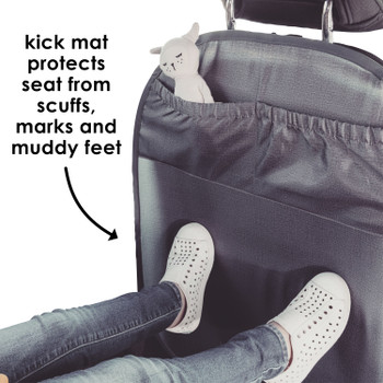 Diono Stuff 'n Scuff® XL Kick Mat Back Seat Protector for Kids Feet With Storage Pocket, 100% Water Resistant for Protection of Your Upholstery from Dirt, Mud, Scratches [Gray]