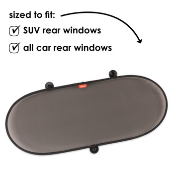 Diono Sun Stop Rear Window Shade For Baby, Infant, Toddler, Rear-facing Car Seat Shade, Blocks Sun Glare UV Rays [Black]