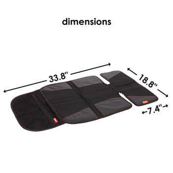 Diono Super Mat Car Seat Protector For Under Car Seat, Crash Tested With Thick Padding and Non Slip Backing For Durable, Water Resistant Protection, Includes 3 Mesh Storage Pockets [Black] [Gray]