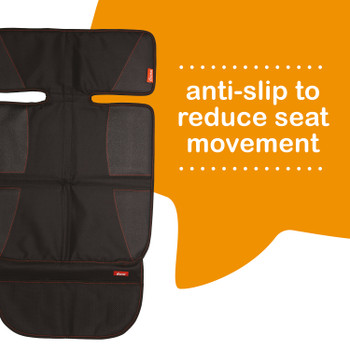 Diono Super Mat® 2 Pack Car Seat Protectors For Under Car Seat, Crash Tested With Thick Padding and Non Slip Backing For Durable, Water Resistant Protection, Includes 3 Mesh Storage Pockets [Black]