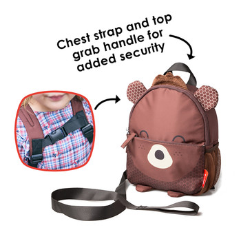 Diono Bear Character Kids Mini Back Back Toddler Leash & Harness for Child Safety, With Padded Shoulder Straps For Child Comfort, Brown [Bear]