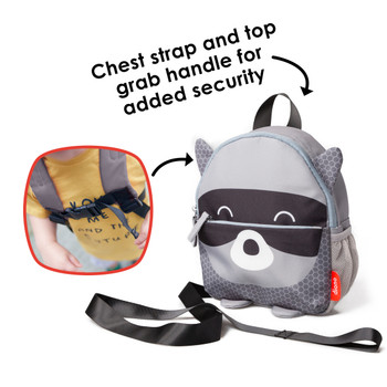 Diono Raccoon Character Kids Mini Back Back Toddler Leash & Harness for Child Safety, With Padded Shoulder Straps For Child Comfort, Gray [Raccoon]
