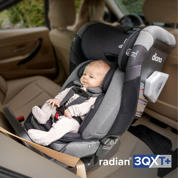 New Diono Radian 3QXT+ All in One Luxury Convertible Car Seat Installed In Back Seat of Car, Newborn Rear Facing Mode with Baby