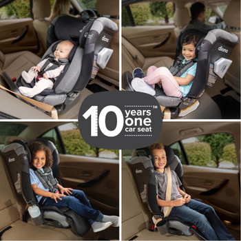 New Diono Radian 3QXT+ All in One Luxury Convertible Car Seat, Suitable From Birth to Booster for 10 Years One Car Seat, Suitable for 10 Years Of Use with 4 Positions for Rear and Forward Facing Child, 4 Grid Image of Children In Car Seat with 10 Years One Car Seat Icon