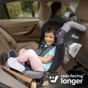 New Diono Radian 3QXT+ All in One Luxury Convertible Car Seat Suitable for Rear Facing  Travel Up To 50 pounds (approximately 4 years old), Young Child in Car Seat Demonstrating Rear Facing for Longer Position