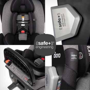 The New Diono Radian 3QXT+ All in One Luxury Convertible Car Seat, Demonstrating Diono Safe+ Engineering including Safe+ 2-in-1 Anti-Rebound Panel and Calf Support, Safe+ Side Impact Management Pod, Safe+ Newborn Protection Insert, and Safe+ Side Impact Protection