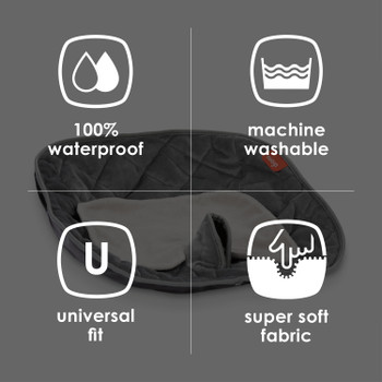 Ultra Dry Seat Deluxe Car Seat and Stroller Protector and Cushion - 100% waterproof, machine washable, universal fit, super soft fabric [Gray]