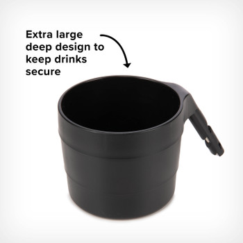 Diono XL Cup Holders for Radian and Everett NXT (Pack of 2) - Extra large deep design to keep drinks secure [Black]
