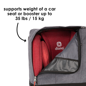 Diono Car Seat Travel Backpack supports weight of a car seat or booster up to 35 lbs [Gray]