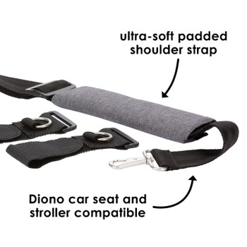 Diono Carry Strap has ultra soft padded shoulder strap and is compatible with all Diono car seats and strollers [Gray]
