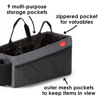 Diono Travel Pal XL features 9 multi-use pockets, a zippered pocket for valuables and outer mesh pockets to keep items in view [Gray]