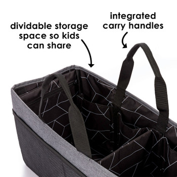 Diono Travel Pal XL includes dividable storage space so kids can share, plus integrated carry handles [Gray]