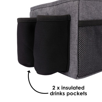 Diono Travel Pal XL includes 2x insulated drink pockets [Gray]