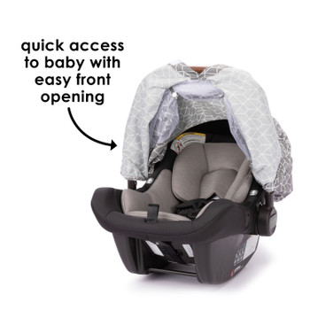 Infant Car Seat Cover has easy front opening for quick access to baby  [Gray]