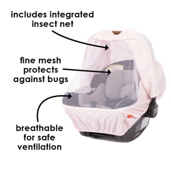 Infant Car Seat Cover includes integrated mesh insect net - breathable for safe ventilation [Pink]
