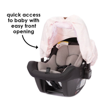 Infant Car Seat Cover has easy front opening for quick access to baby [Pink]