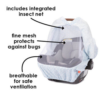 Infant Car Seat Cover includes integrated mesh insect net - breathable for safe ventilation [Blue]