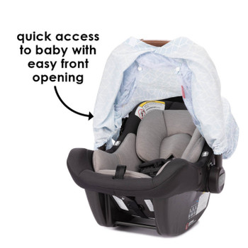 Infant Car Seat Cover has easy front opening for quick access to baby [Blue]