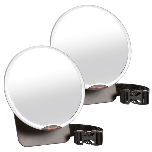 Diono Easy View® Pack of 2 Baby Car Mirrors, Safety Car Seat Mirror for Rear facing Infant, Fully Adjustable With 360¬∞ Rotation, Wide Crystal Clear View, Shatterproof, Crash Tested [Silver]