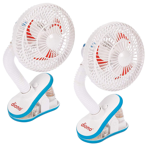 Diono Stroller Fans, Pack of 2 Clip On Baby Safe Stroller Fans With Flexible Neck For Perfect Angle, Universal Fit With Most Strollers [White]