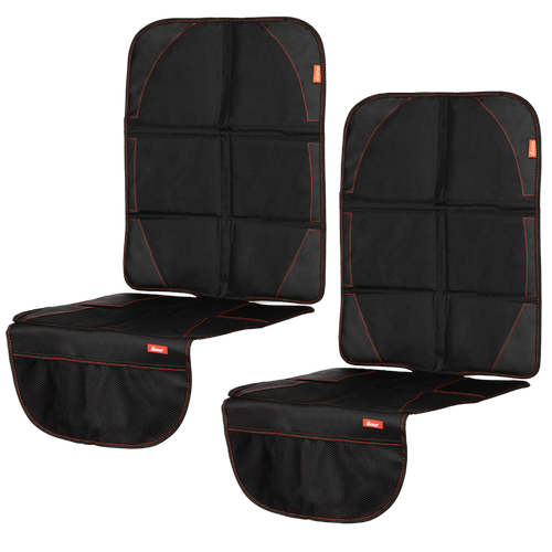 Diono Ultra Mat® Pack of 2 Full Size Car Seat Protectors For Under Car Seat, Crash Tested With Premium Ultra Thick Padding For Durable, Water Resistant Protection, Includes 3 Mesh Storage Pockets [Black]