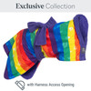 Rainbow Dogrobe from the Exclusive Collection with a harness access opening for dogs who wear a harness
