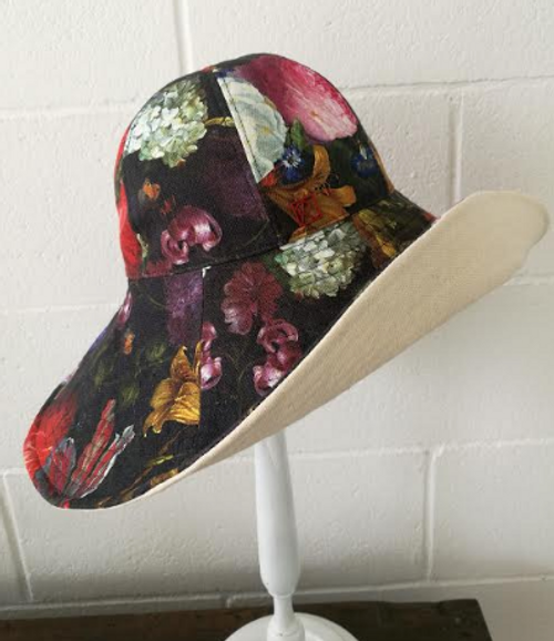 Monica- Floral Rossini Hat with deep rich floral colors.
