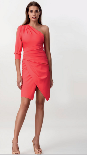 Coral One Sleeve Dress. Also comes in black