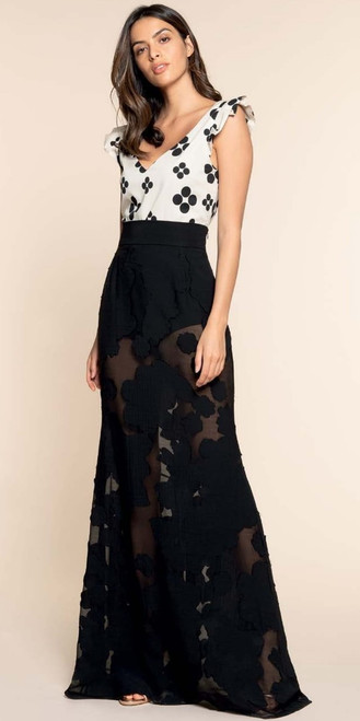 Gorgeous Italian designer Hanita collection of soft, elegant see through flower long skirt with elegant bottom flair. Absolutely one of kind look. This gown also is a match for the Hanita Black Blouse from Italy.