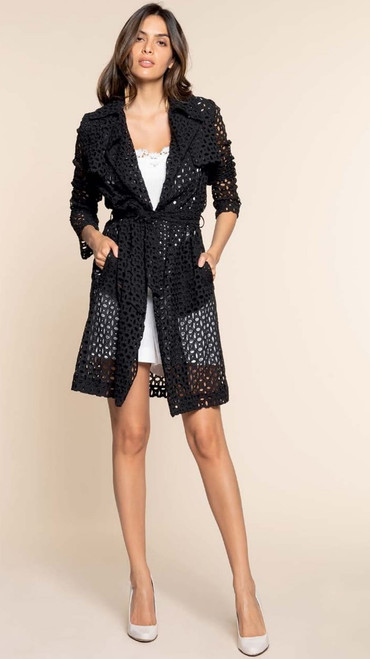 This is an ultra high fashion design from Italy light jacket with see through elegant design. It's got a one of kind look and can be worn over an elegant or a cool night out at the Yacht. It's a statement of class matched with style.
