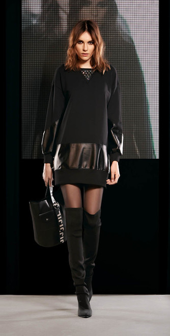 Jijil Collection Leather Banded Dress
